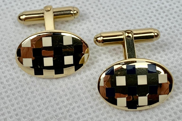 Sterling Silver 'Vermeil' Oval Cufflinks with Black/White Enamel, 1960s-A Pair For Sale 4