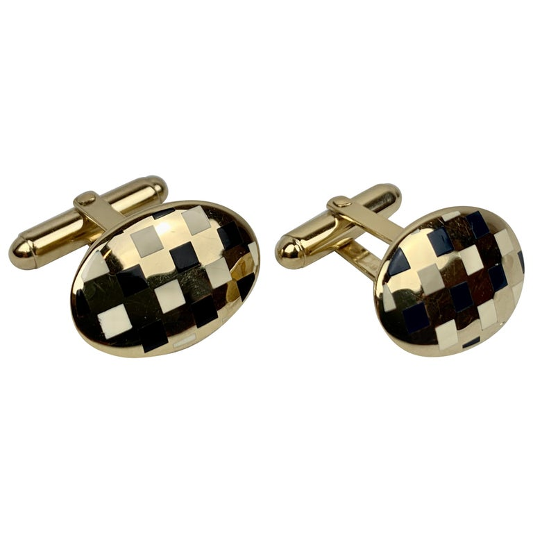 Sterling Silver 'Vermeil' Oval Cufflinks with Black/White Enamel, 1960s-A Pair For Sale