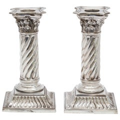 Pair of Sterling Silver Victorian Neoclassical Corinthian Column Candlesticks