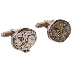 Pair of Sterling Silver Watch Part Cufflinks Custom