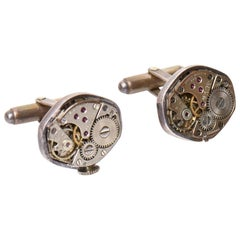 Pair of Sterling Silver Watch Part Cufflinks Custom Made
