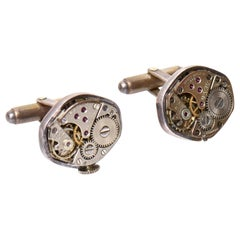 Pair of Sterling Silver Watch Part Cufflinks Custom Made