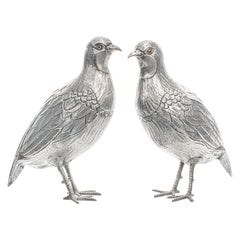 Pair of Sterling Table Birds, circa 1890s