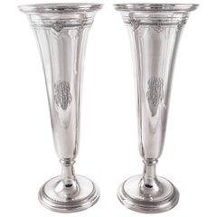 Pair of Sterling Trumpet Vases