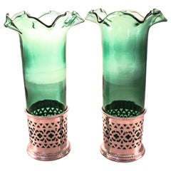 Pair of Sterling Vases with Green Crystal