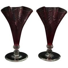 Pair of Steuben Art Glass Cranberry Swirl Cloverleaf Form Vases, 20th Century