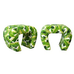 Pair of Steve Chase Banana Leaf Pattern Waterfall Benches