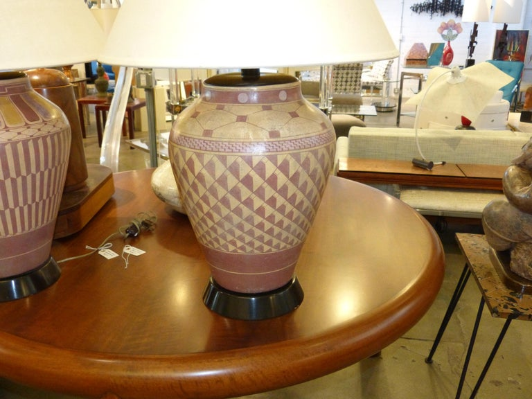 Pair of Steve Chase Designed Native American Pottery Lamps For Sale 9