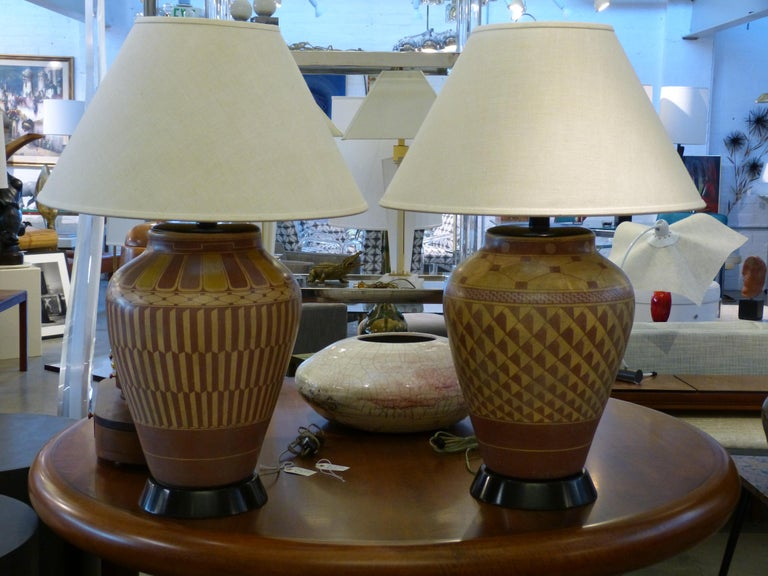 Pair of Steve Chase Designed Native American Pottery Lamps In Good Condition For Sale In Palm Springs, CA