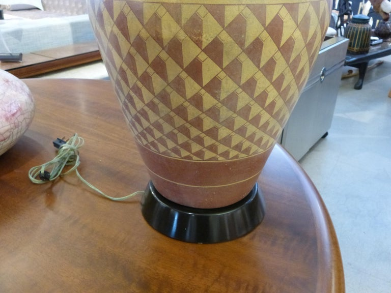 Pair of Steve Chase Designed Native American Pottery Lamps For Sale 3
