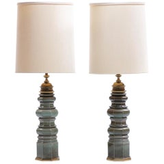Pair of Stiffel Green Crackle Glazed Ceramic Pagoda Style Tall Lamps, circa 1960