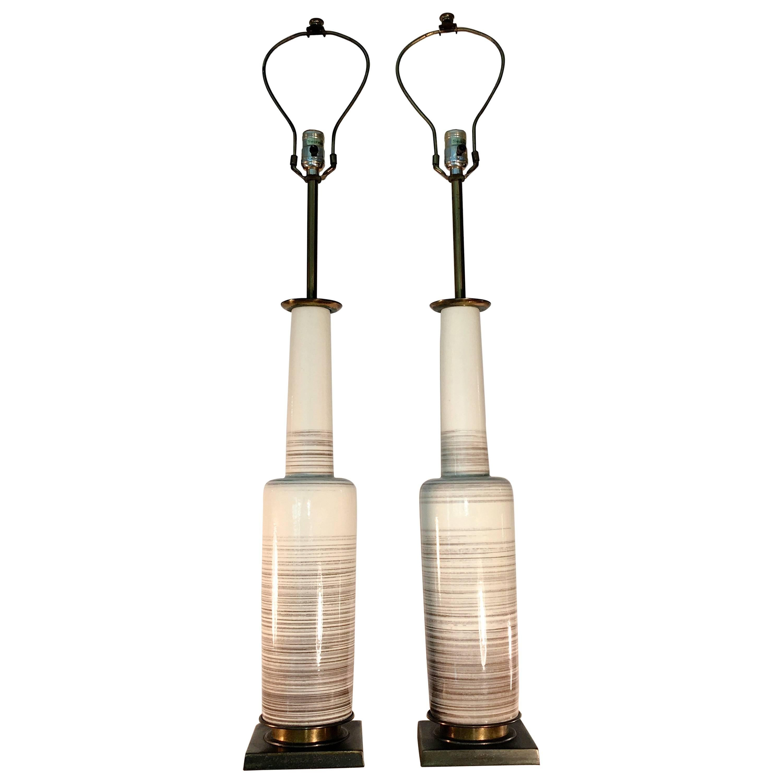 Pair of Stiffel Lamps in Glazed Ceramic Bottle Form