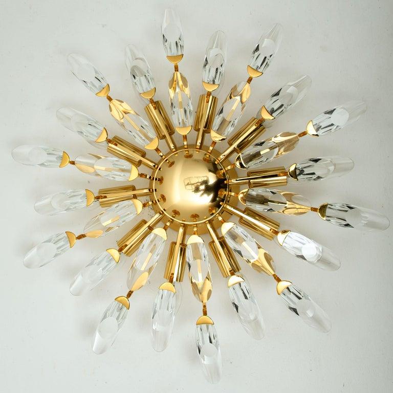 Pair of Stilkronen Crystal and Gilded Brass Italian Flush Mount Sconces For Sale 6