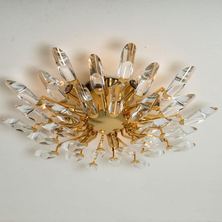 Pair of Stilkronen Crystal and Gilded Brass Italian Flush Mount Sconces For Sale 7