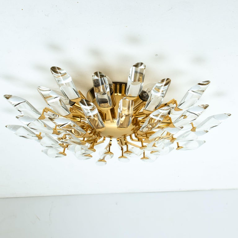 Pair of Stilkronen Crystal and Gilded Brass Italian Flush Mount Sconces For Sale 9