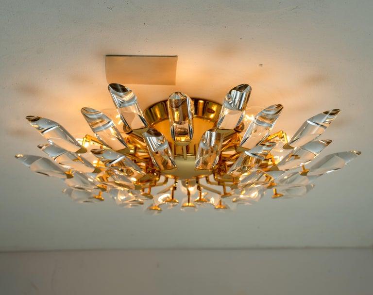 Pair of Stilkronen Crystal and Gilded Brass Italian Flush Mount Sconces For Sale 11