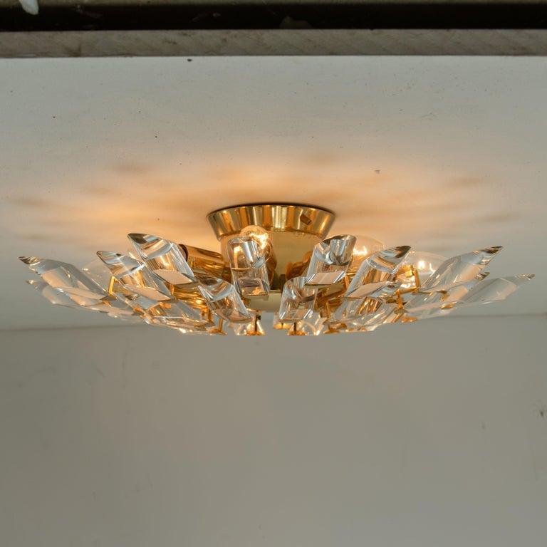 Pair of Stilkronen Crystal and Gilded Brass Italian Flush Mount Sconces For Sale 12