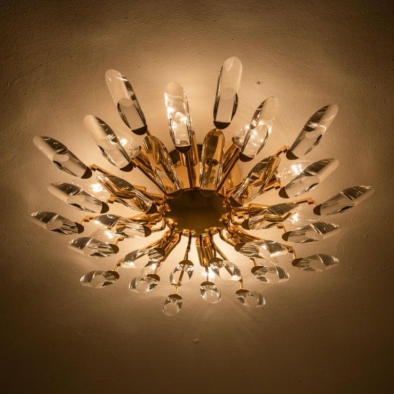 Pair of Stilkronen Crystal and Gilded Brass Italian Flush Mount Sconces For Sale 15