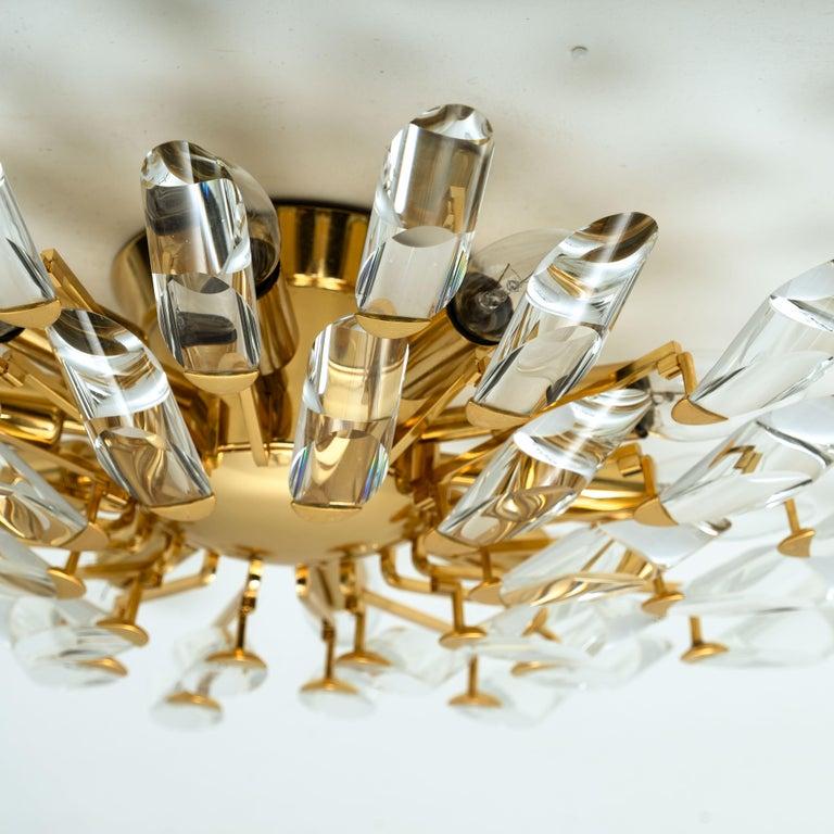 Pair of Stilkronen Crystal and Gilded Brass Italian Flush Mount Sconces For Sale 2