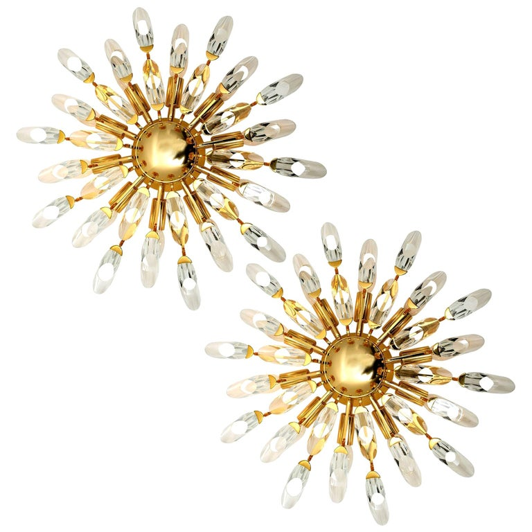 Pair of Stilkronen Crystal and Gilded Brass Italian Flush Mount Sconces For Sale