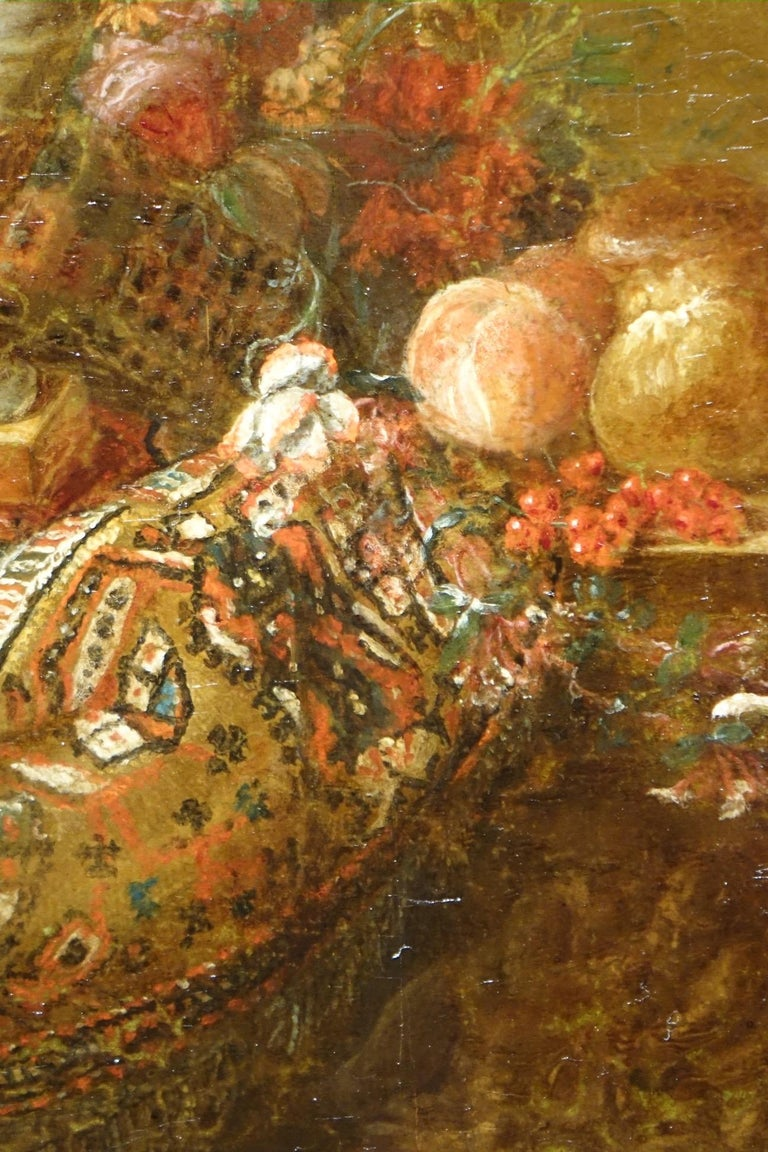 Pair of Still Life Painting, 19th Century French School, Oil on Oak For Sale 4