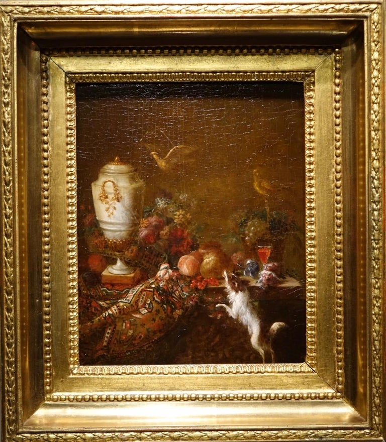 Pair of paintings, oil on oak panels, representing still life with birds, dog, flowers, fruits, vases and carpets on entablatures. On the first painting, we see a parrot tasting a fruit, a dog on the left, on the edge of a window, watching him. On