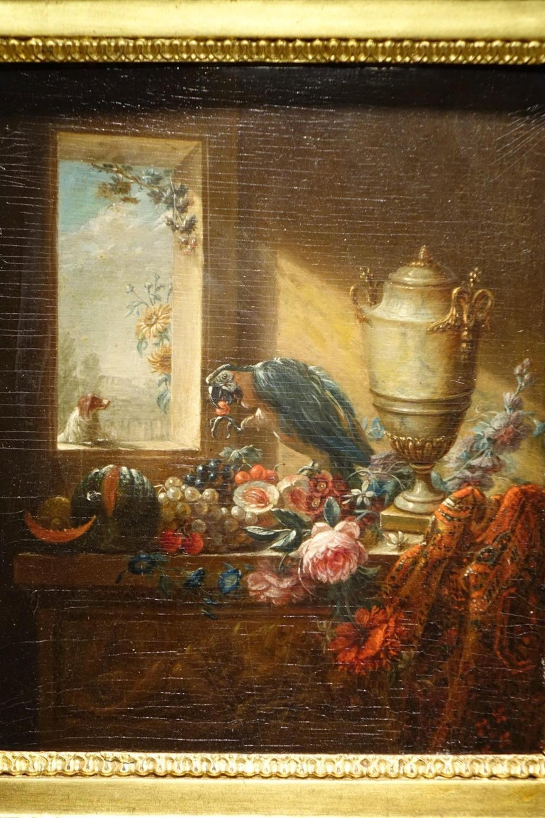 Louis Philippe Pair of Still Life Painting, 19th Century French School, Oil on Oak For Sale