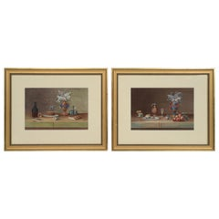 "Pair of Still Lifes, Gouache after Paul LeLong and Both Initialed ""A.G."""