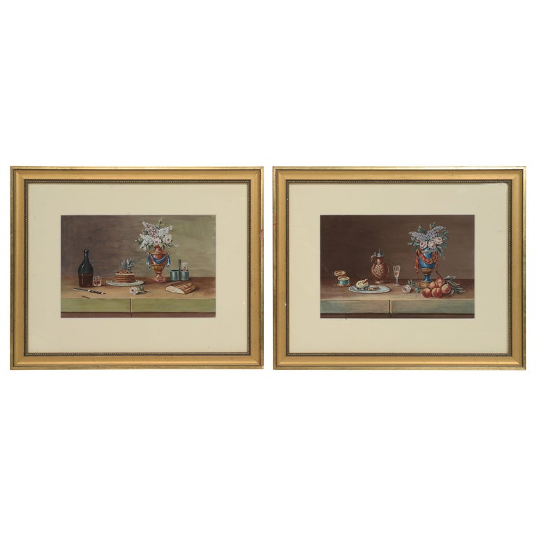 "Pair of Still Lifes, Gouache after Paul LeLong and Both Initialed ""A.G."" For Sale"