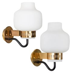 Pair of Stilnovo '2030' Brass and Glass Sconces, circa 1965