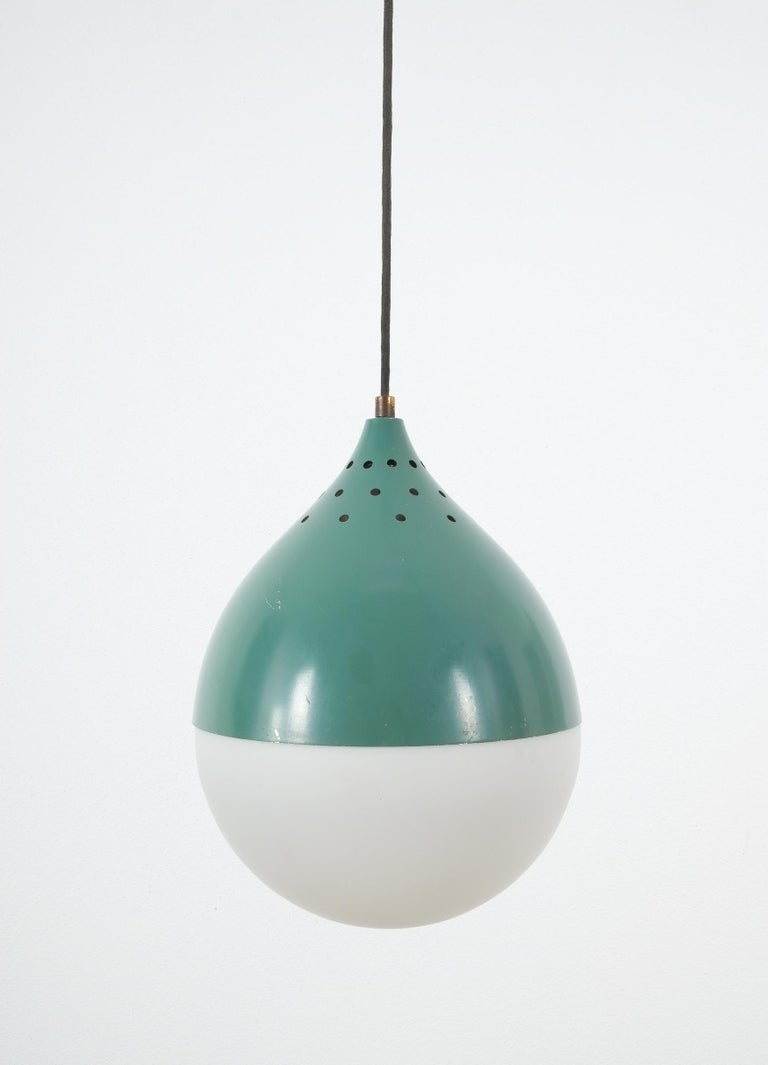 Mid-Century Modern Pair of Stilnovo Ball Pendants Lamp Opal Glass, circa 1950 For Sale