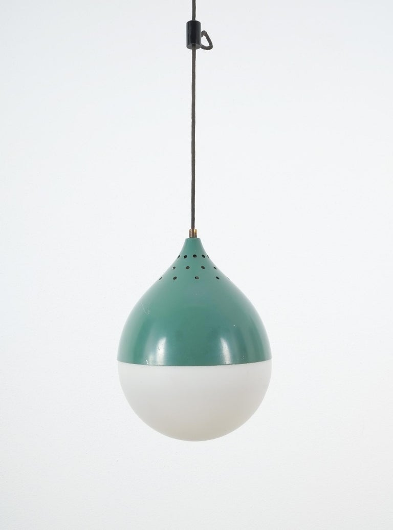 Mid-20th Century Pair of Stilnovo Ball Pendants Lamp Opal Glass, circa 1950 For Sale