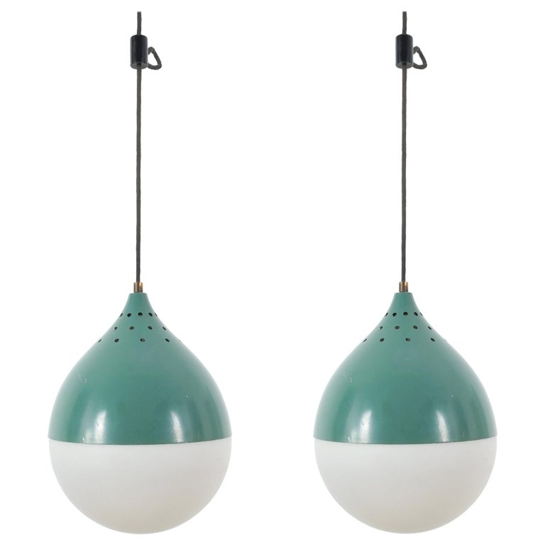 Pair of Stilnovo Ball Pendants Lamp Opal Glass, circa 1950 For Sale