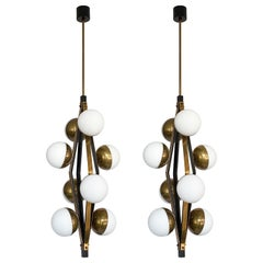Pair of Stilnovo Brass Eight Globe Pendant Chandeliers