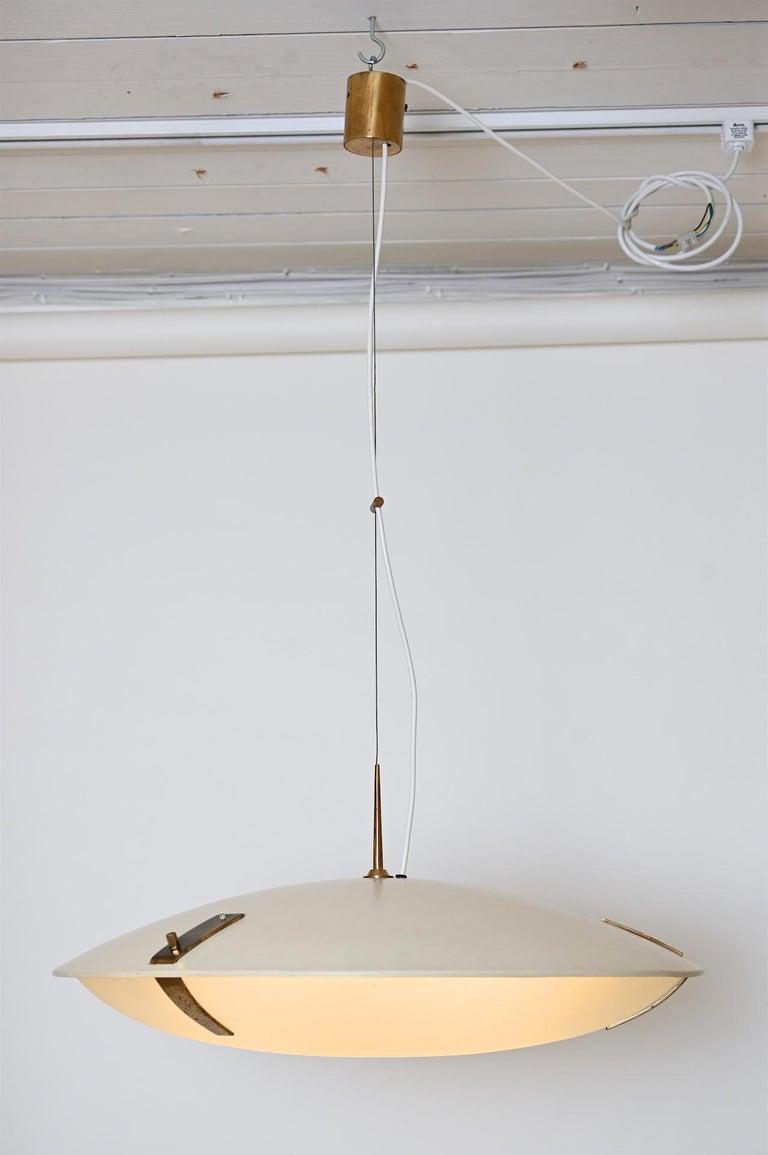 Aluminum Pair of Stilnovo Ceiling Light Model 1140 For Sale
