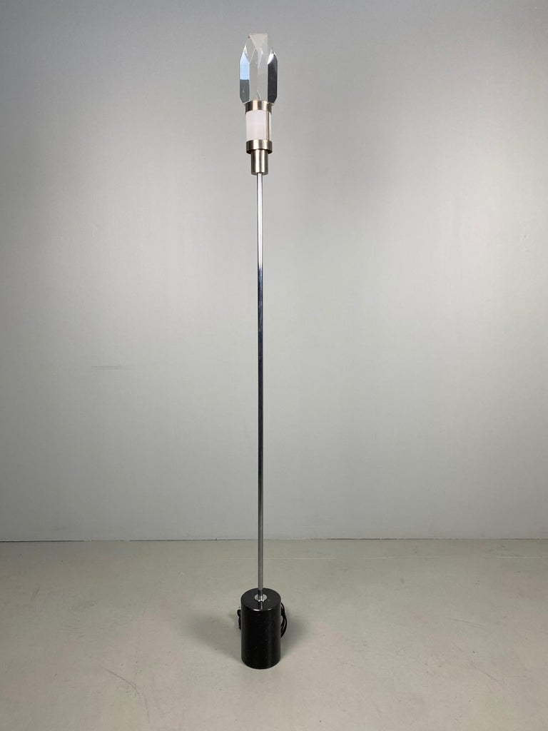 Pair of Stilnovo Floor Lamps with Facted Lucite Shades For Sale 5
