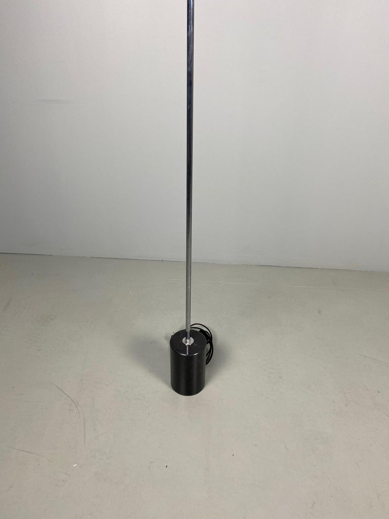 Italian Pair of Stilnovo Floor Lamps with Facted Lucite Shades For Sale