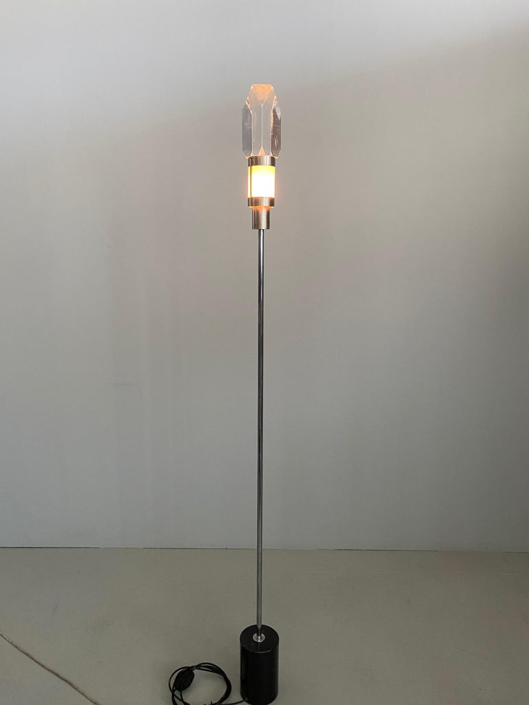 Pair of Stilnovo Floor Lamps with Facted Lucite Shades For Sale 1