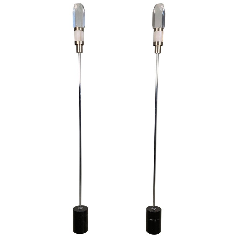 Pair of Stilnovo Floor Lamps with Facted Lucite Shades For Sale