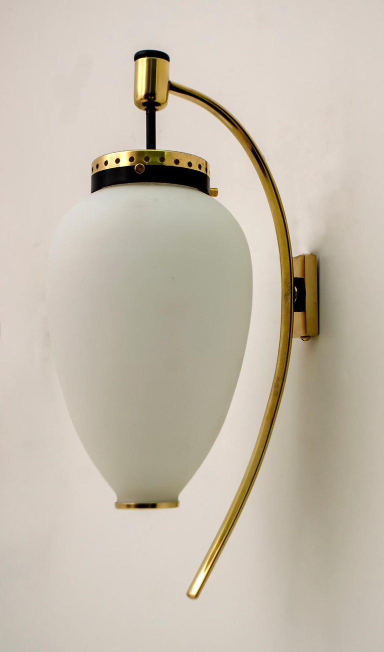Stilnovo Mid-Century Modern Italian Brass and Opaline Glass Sconces, 1950s, Pair For Sale 2