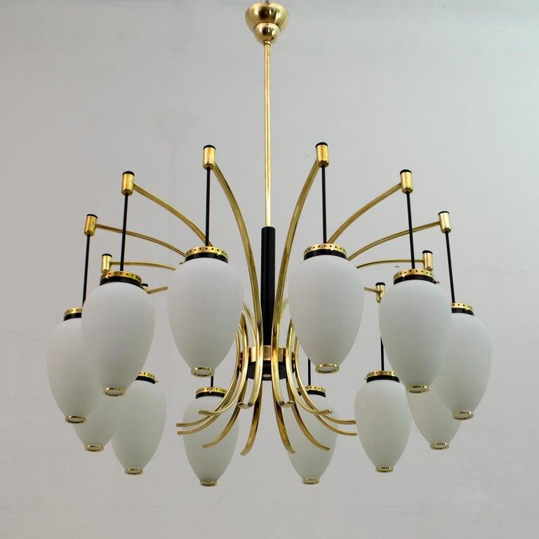 Stilnovo Mid-Century Modern Italian Brass and Opaline Glass Sconces, 1950s, Pair For Sale 3