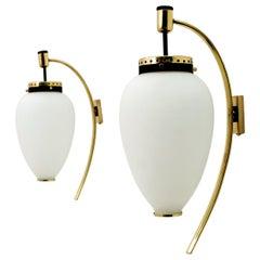 Stilnovo Mid-Century Modern Italian Brass and Opaline Glass Sconces, 1950s, Pair