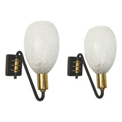 Pair of Stilnovo Midcentury Brass and White Murano Glass Italian Sconces, 1950s