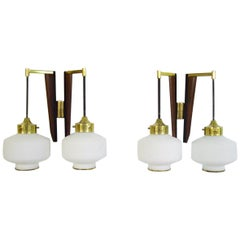 Pair of Stilnovo Modernist Wall Lamps in Teak and Brass, Opal Glass, Italy