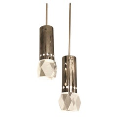 Pair of Stilnovo Pendants with Facted Lucite Shades