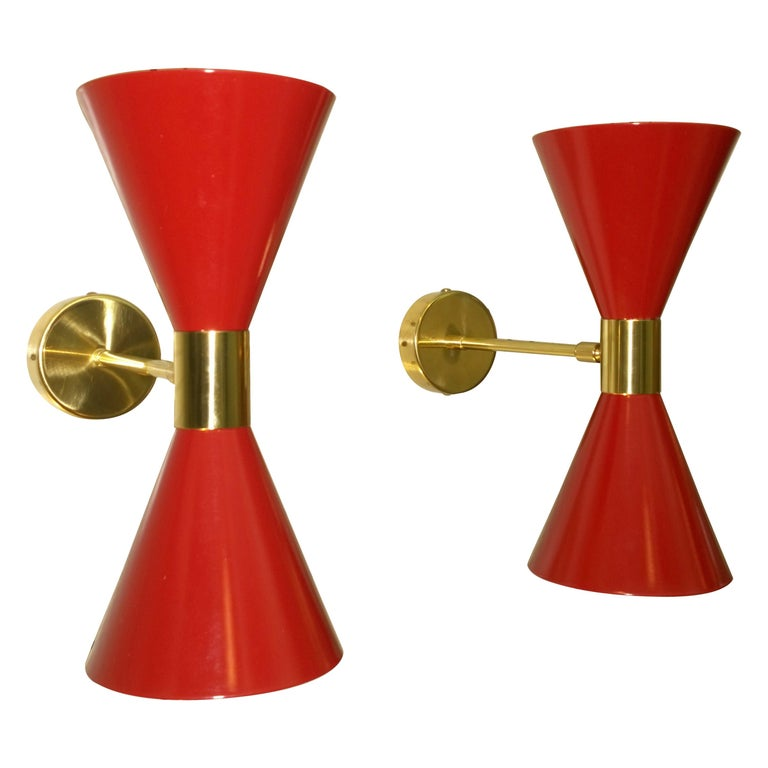 Pair of Stilnovo Red and White Enameled Aluminum with Brass Accents Sconces For Sale