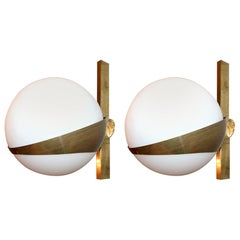 Pair of Stilnovo Style Brass Sconces with White Glass Balls