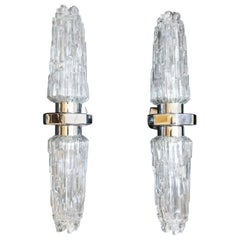 Pair of Stilnovo Style Wall Lights with Double Sculptural Glass Shades, 1960s