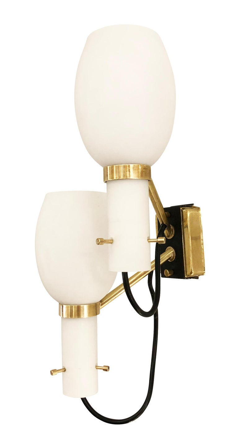 Mid-Century Modern Pair of Stilnovo Wall Lights with Frosted Glass Shades For Sale