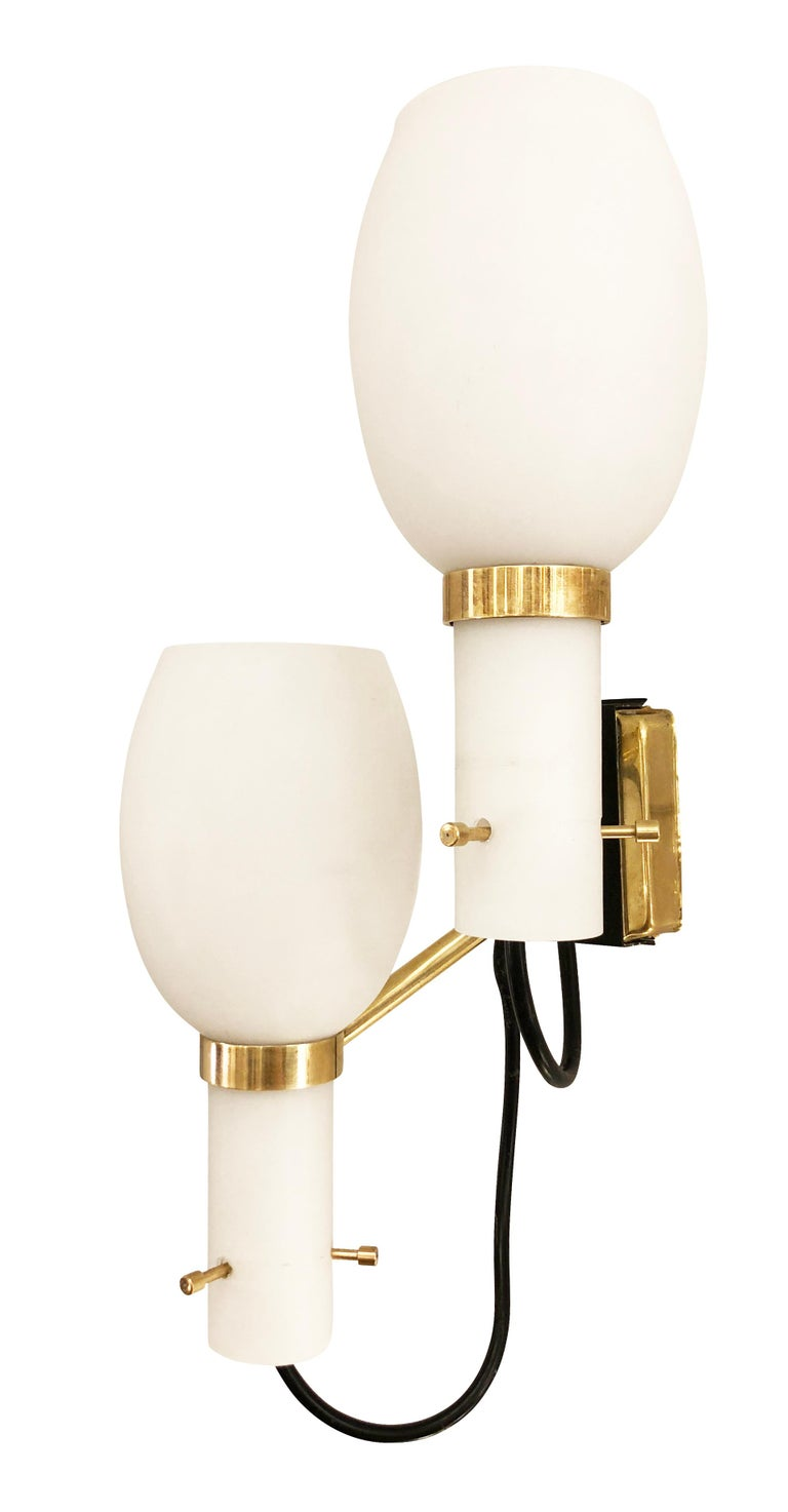 Italian Pair of Stilnovo Wall Lights with Frosted Glass Shades For Sale